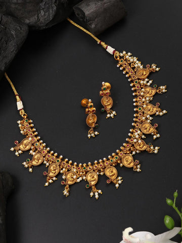 Beads Ruby Emerald Gold Plated Temple Jewellery Set