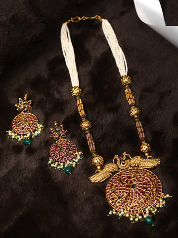 Multi-Color Beads Pearls Ruby Gold Plated Peacock Jewellery Set