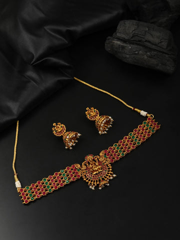 Ruby Emerald Beads Gold Plated Temple Choker Set