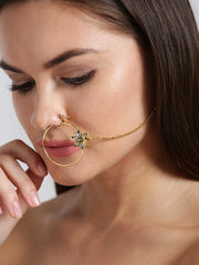 traditional Gold Plated Nose Ring/Nath with Pearl Chain For Women/Girls