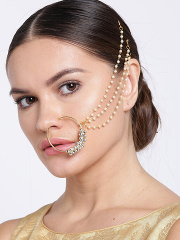 traditional Gold Plated Nose Ring/Nath with 3 Pearl Chain For Women/Girls