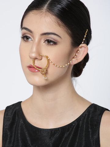 Gold Plated Stone Studded With Beads Chain Floral Nath/Nose Ring For Women