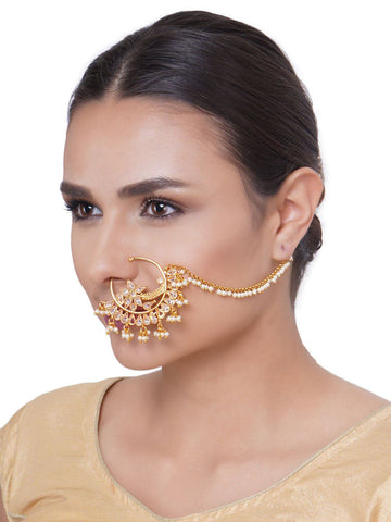 Designer Gold Plated NoseRing/Nath With Pearl Chain For Women And Girls