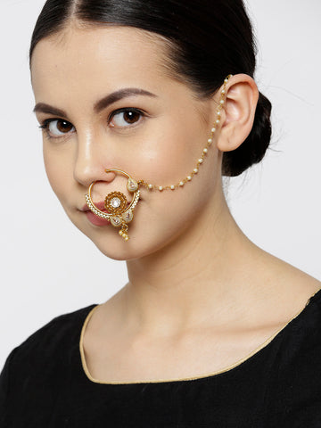 Traditional NoseRing/Nath With Pearl Chain For Women And Girls