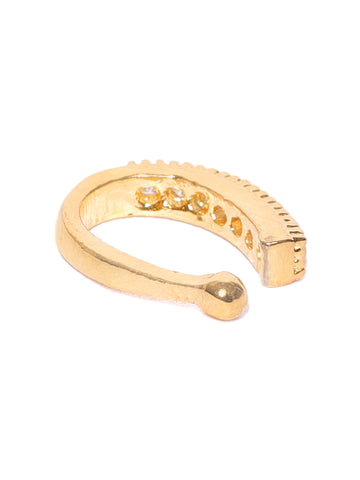 Gold-Toned & White CZ Studded Designer Clip-On Nose Pin For Women And Girls