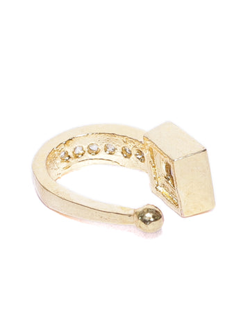 Gold-Toned & White CZ Studded Sparkling Clip-On Nosepin For Women And Girls