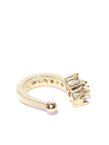 Classic Gold-Plated & White CZ Studded Clip-On Nosepin For Women And Girls
