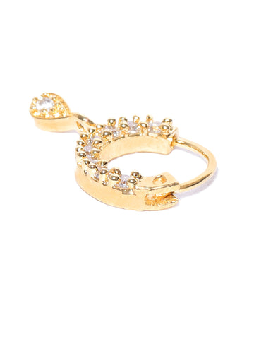 Stylish Gold Plated American Diamond Nose pin For Women And Girls