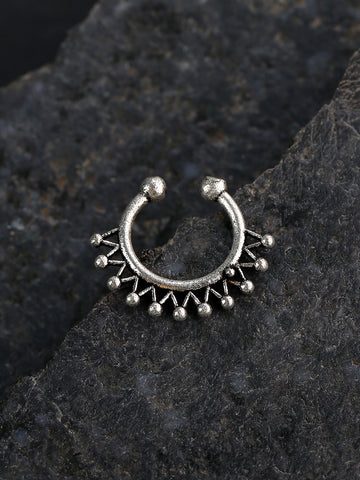 Oxidised Silver-Toned Beautiful Design Septum Nosepin For Women