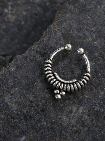 Oxidised Silver-Toned Tribal Design Septum Nosepin For Women