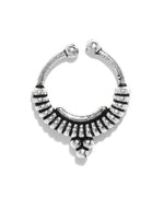 Priyaasi Oxidised Silver-Toned Tribal Design Septum Nosepin For Women