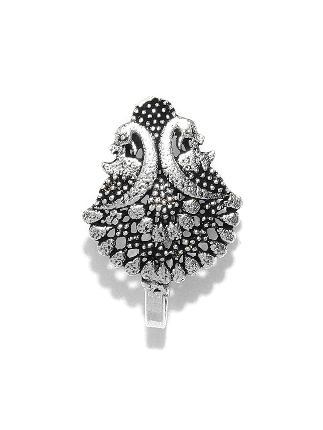 Oxidised Silver-Toned Peacock Inspired Beautiful Free Size Clip-On Nosepin