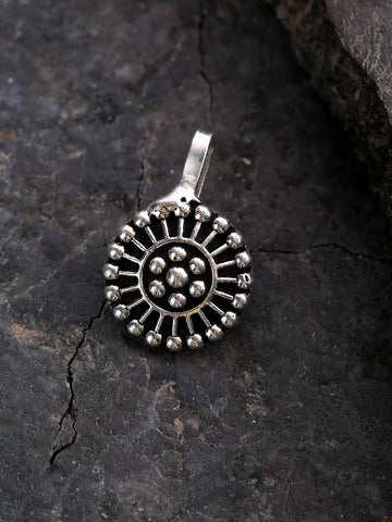 Oxidised Silver-Toned Tribal Round Shape Free Size Clip-On Nosepin