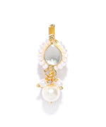 Priyaasi Gold-Plated Kundan Studded Pearl Drop Free Size Clip-On Nosepin