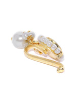 Gold-Plated Round Kundan Studded Pearl Drop Free Size Clip-On Nosepin