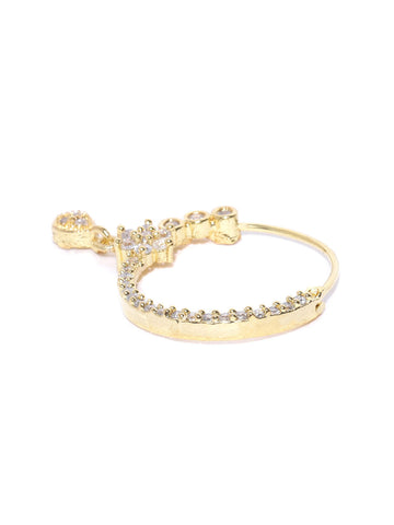 Gold-Plated American Diamond Studded Floral Designed Nath/Nosering