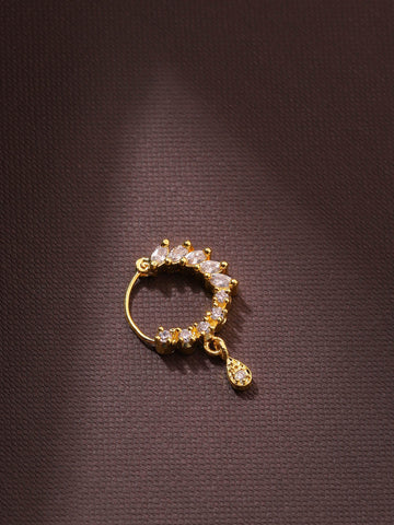 Gold Plated Leaf Shaped American Diamond Studded Nath/Nose Ring