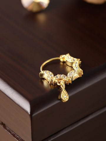 Gold Plated AD Studded Multiple Half Moon Designed Nath/Nose Ring