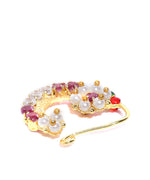 Priyaasi Gold Plated AD And Pearls Studded Maroon Clip-On Nosepin
