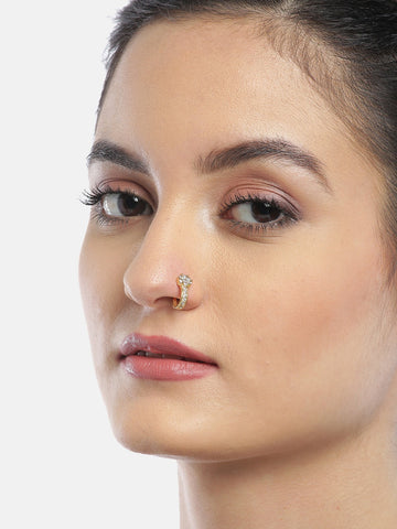 Women Gold-Plated & White Stone-Studded Nose Ring