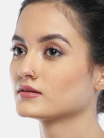 Gold Plated American Diamond Studded Nose Ring