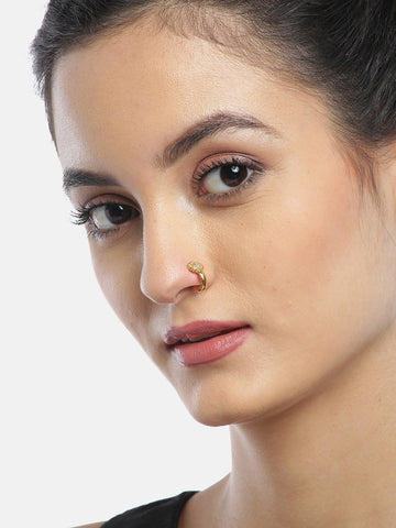 American Diamond Studded Gold Nose Ring