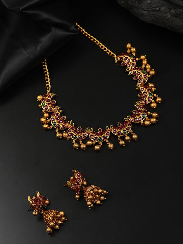 Ruby Pearls Gold Plated Crescent Choker Set