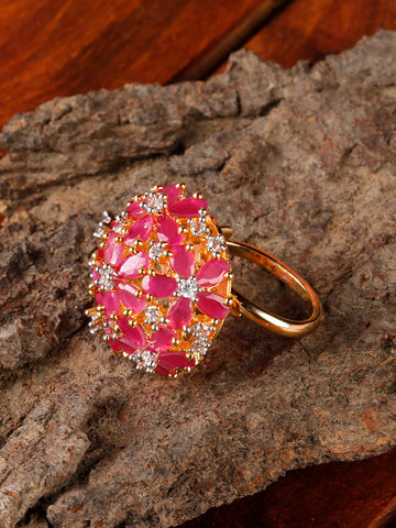 Gold-Plated Ruby and American Diamond Studded Adjustable Ring in Pink Color
