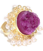 Priyaasi's Gold Plated Off-White Pearl Beaded Pink Druzzy Stone Statement Ring