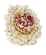Red Gold-Plated Adjustable Ring with Pearls