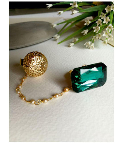 Gold-Toned And Green Stone-Studded Dual Finger Adjustable Finger Ring For Women And Girls