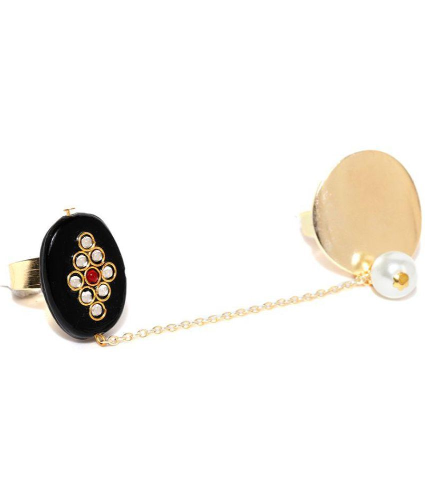 Kundan Pearl Dual Finger Adjustable Ring