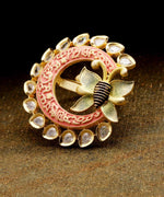 Priyaasi Gold-Plated Butterfly Inspired Meenakari Adjustable Ring in Peach and Green Color Studded with American Diamond