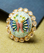 Priyaasi Gold-Plated Butterfly Inspired Meenakari Adjustable Ring in Blue and Green Color Studded with American Diamond