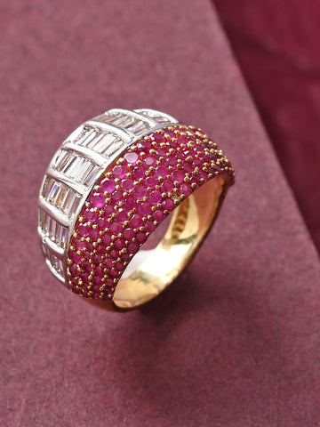 Gold-Plated Pink Ruby and American Diamond Studded Broad Ring