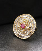 Designer Gold Plated American Diamond Ring With Single Red Stone For Women And Girls