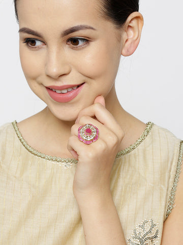 Stylish Floral Shaped Pink And White American Diamond Ring For Women And Girls