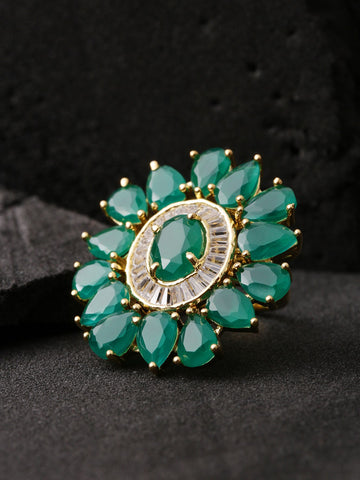 Designer Emerald Stone Studded Gold Plated Green Floral Design Stylish Adjustable Ring For Women And Girls
