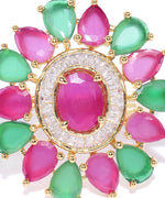 Gold-Plated Magenta and Green Adjustable Ring in Floral Patterned Studded with American Diamond Ruby and Emerald