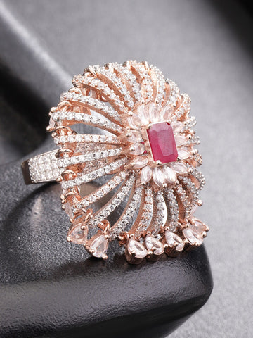 Gold-Toned Pink CZ-Studded Handcrafted Adjustable Ring