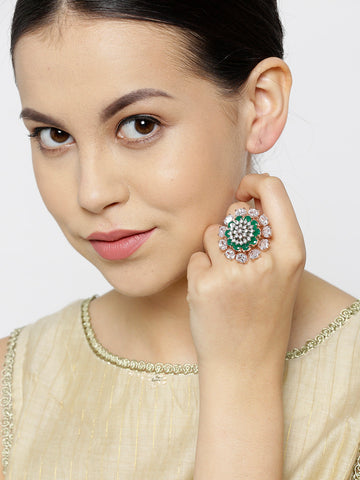 Party Wear Gold-Plated Green And White CZ-Studded Handcrafted Ring For Women And Girls