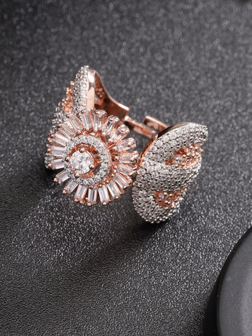Handcrafted Floran Shaped CZ Studded Finger Ring For Women And Girls