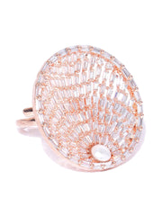 Stylish Gold Tonned Goemetric American Diamond Adjustable Ring For Women And Girls