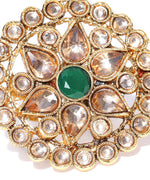 Designer Gold Plated Crystal, Green Stone and Kundan Studded Floral Design Stylish Adjustable Round Ring For Women And Girls