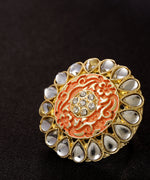 Priyaasi Designer Gold Plated Stones and Kundan Studded Stylish Trendy Adjustable Peach Round Ring For Women And Girls