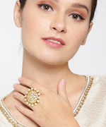 Priyaasi Gold-Plated Kundan and Pearls Studded Adjustable Ring in Floral Pattern