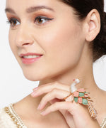 Priyaasi Gold-Plated American Diamond Studded Peacock Inspired Meenakari Adjustable Ring in Peach and Green Color