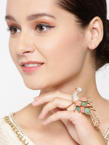 Gold-Plated American Diamond Studded Peacock Inspired Meenakari Adjustable Ring in Peach and Green Color