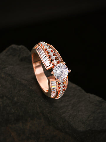 Rose Gold-Plated American Diamond Studded Ring