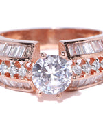 Priyaasi Rose Gold-Plated American Diamond Studded Ring